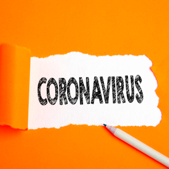 Coronavirus text sketched with pencil.